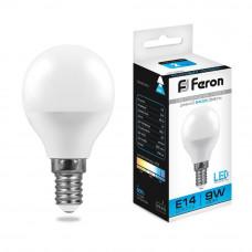 Лампа светодиодная Feron E14 9W 6400K Шар Матовая LB-550 25803