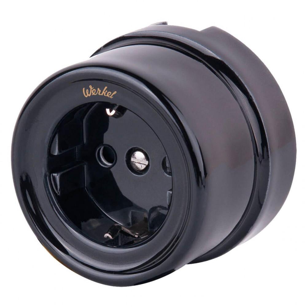 Розетка с заземлением и шторками Retro черная WL18-03-02 4690389100802