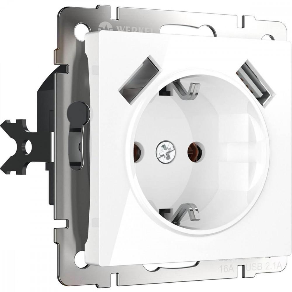 Розетка с заземлением, USBx2 белая WL01-SKGS-USBx2-IP20 4690389073199