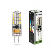 Лампа светодиодная Feron G4 2W 4000K прозрачная LB-420 25448