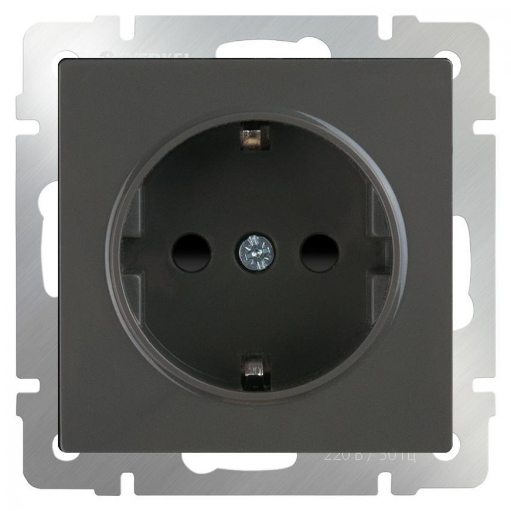 Розетка с заземлением и шторками Werkel серо-коричневый WL07-SKGS-01-IP44 4690389086625
