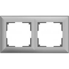 Рамка Fiore на 2 поста серебряный WL14-Frame-02 4690389109089