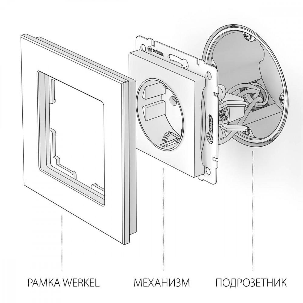 Розетка с заземлением Werkel WL01-10-01 безвинтовой зажим белая 4690389126239