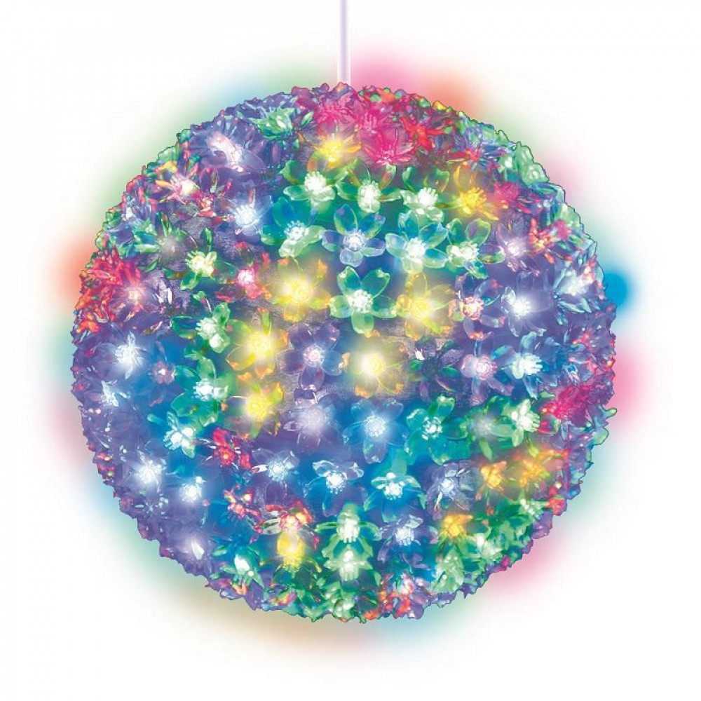 Подвесной светильник «Шар с цветами сакуры» d=21см (09574) Uniel ULD-H2121-200/DTA RGB IP20