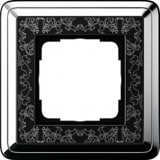 Рамка 1-постовая Gira ClassiX Art хром/черный 0211682
