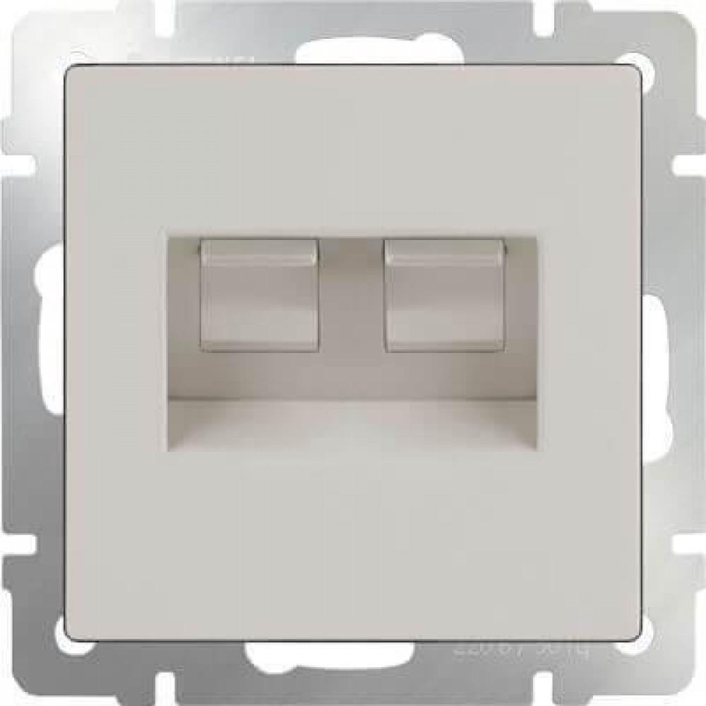 Розетка телефонная RJ-11 и Ethernet RJ-45 слоновая кость WL03-RJ11-45-ivory 4690389046278