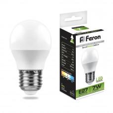 Лампа светодиодная Feron E27 7W 4000K Шар Матовая LB-95 25482