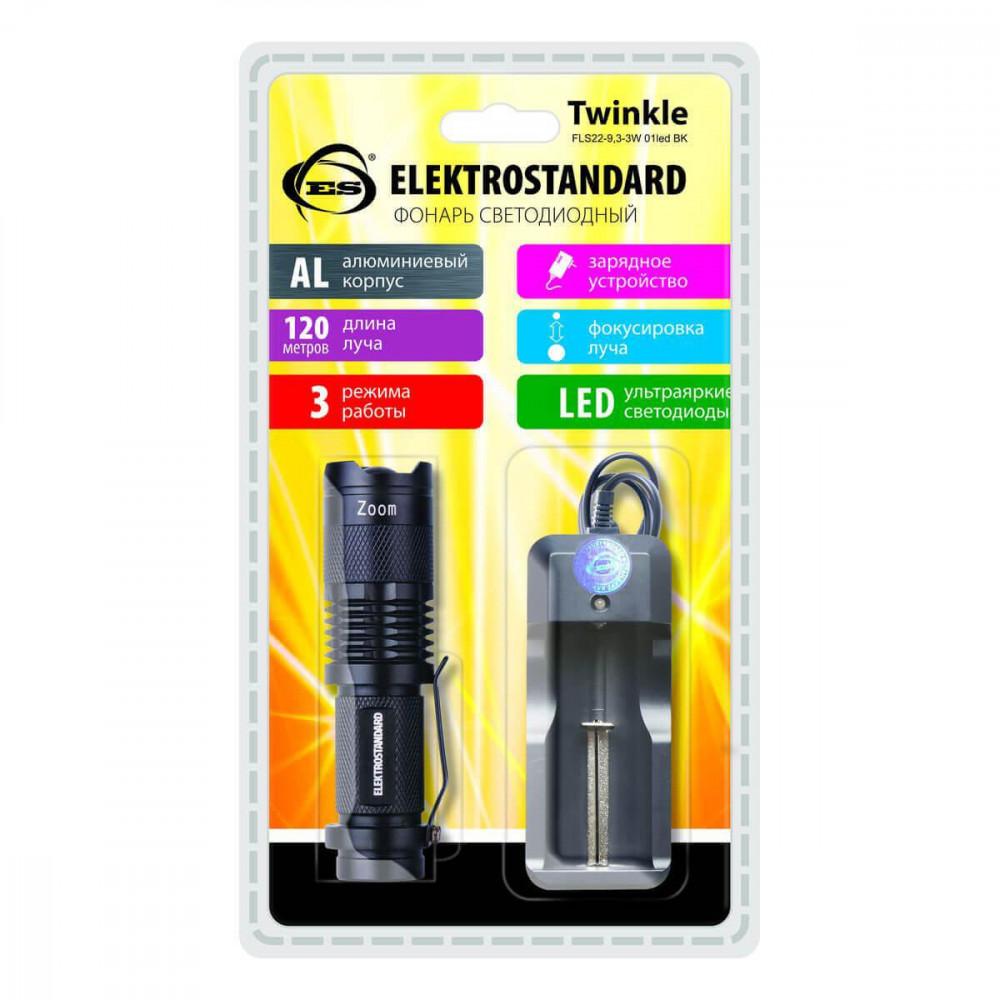 Ручной светодиодный фонарь Elektrostandard Twinkle от батареек 92х26 120 лм 4690389065934