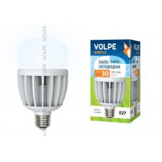 Лампа светодиодная с матовым рассеивателем Volpe LED-M80-30W/NW/E27/FR/S Материал корпуса термопластик. Цвет свечения белый. Серия Simple