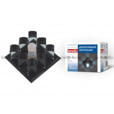 Светильник встраиваемый декоративный ТМ Fametto DLS-F118 G9 BLACK/CLEAR, серия Fiore. Квадратный. Без лампы, цоколь G9. Основание стекло, цвет черный. Отделка криста