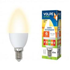 Лампа светодиодная Volpe LED-C37-6W/WW/E14/FR/O Форма свеча, матовая колба. Материал корпуса пластик. Цвет свечения теплый белый. Серия Optima.