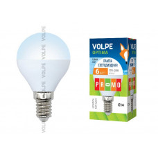 Лампа светодиодная Volpe LED-G45-6W/NW/E14/FR/O Форма шар, матовая колба. Материал корпуса пластик. Цвет свечения белый. Серия Optima