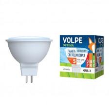 Лампа светодиодная Volpe LED-JCDR-5W/NW/GU5.3/O Форма JCDR, матовый рассеиватель. Материал корпуса пластик. Цвет свечения белый. Серия Optima