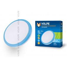Светильник накладной светодиодный ULI-Q101 24W/NW WHITE/BLUE. ТМ VOLPE. 1900Lm. IP20. Круглый. Диаметр — 350мм. Материал рассеивателя - пластик. Цвет корпуса - белый с голуб