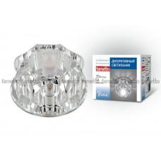 Светильник встраиваемый декоративный ТМ Fametto DLS-F105 G9 GLASSY/CLEAR, серия Fiore. Без лампы, цоколь G9. Основание стекло, цвет зеркальный. Отделка кристалл, цве
