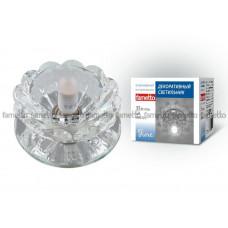 Светильник встраиваемый декоративный ТМ Fametto DLS-F108 G9 GLASSY/CLEAR, серия Fiore. Без лампы, цоколь G9. Основание стекло, цвет зеркальный. Отделка кристалл, цве