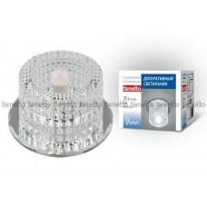 Светильник встраиваемый декоративный ТМ Fametto DLS-F110 G9 GLASSY/CLEAR, серия Fiore. Без лампы, цоколь G9. Основание стекло, цвет зеркальный. Отделка кристалл, цве
