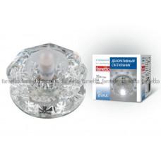 Светильник встраиваемый декоративный ТМ Fametto DLS-F111 G9 GLASSY/CLEAR, серия Fiore. Без лампы, цоколь G9. Основание стекло, цвет зеркальный. Отделка кристалл, цве