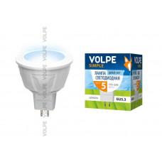 Лампа светодиодная Volpe LED-JCDR-5W/NW/GU5.3/S Форма JCDR, матовый рассеиватель. Материал корпуса термопластик. Цвет свечения белый. Серия Simple