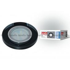 Светильник встраиваемый декоративный ТМ Fametto DLS-P106 GU5.3 CHROME/BLACK, серия Peonia. Без лампы, цоколь GU5.3. Основание металл, цвет хром. Отделка стекло, цвет